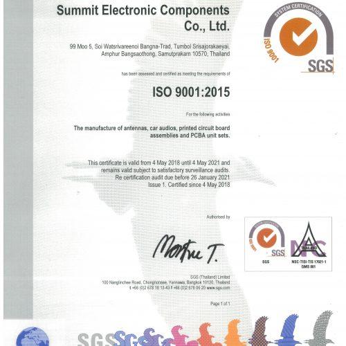 Sec Certificate ISO 9001 NAC