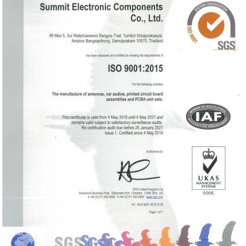 Sec Certificate ISO 9001 UKAS