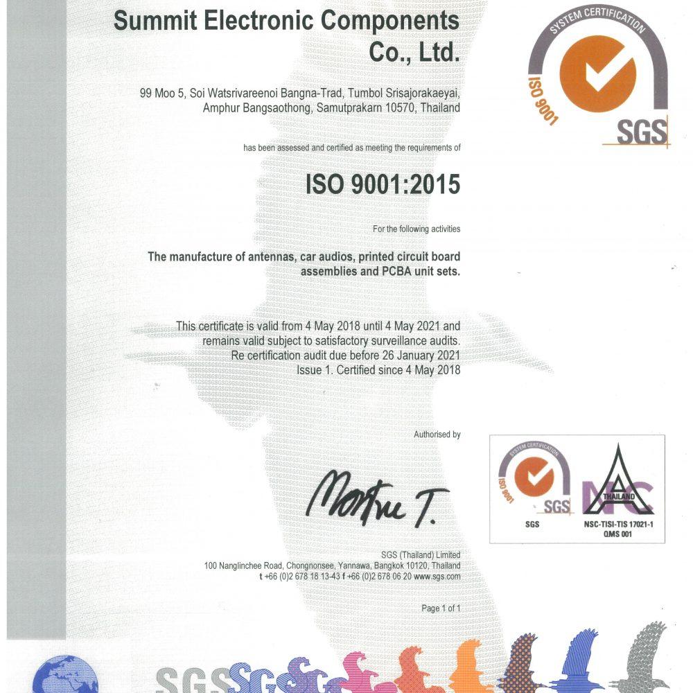 Sec Quality System Summit Electronics Component Coltd